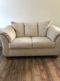 Suede Beige Love Seat and Sofa Chair Los Angeles
