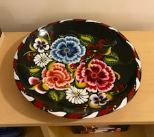 NEW HAND PAINTED FLOWER WOODEN PLATTER BOWL