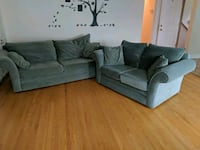 Green suede Couch and 2-seat sofa Toronto, M9W 3L6