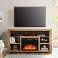 Media Fireplace Console, Television Stand for TVs up to 65, Rustic Br | SKU# 49042 2263 mi