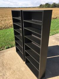 black and gray wooden 5-layer shelf