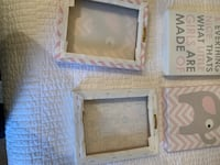 Baby pink gray and white elephant canvas set of 4 chevron print