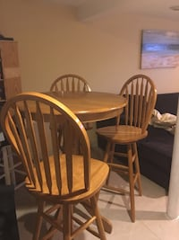 Bar height table and 3 bar stools - great for recreation room or basement  Saddle Brook, 07663