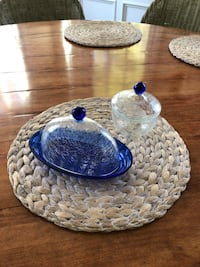Covered butter dish and matching bowl with lid $25 for both Southport, 06890