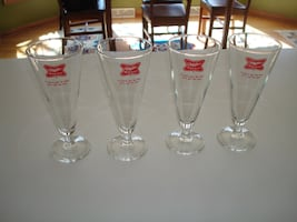 """Rare Stunning Vintage MILLER HIGH LIFE BEER Footed Glasses - Qty """"4"""" - $25"""