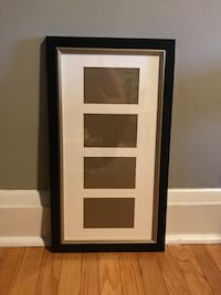 """Black collage picture frame w/gold bevel, 4 4x6"""" openings"""