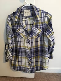 Blue and yellow plaid button-up shirt (small)