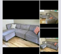 black leather sectional couch collage Gatineau, J8Y 3S7