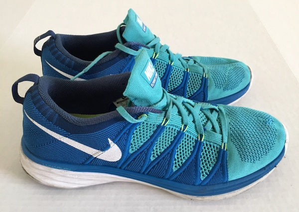 sale retailer 452f4 52c8b Nike Flyknit Lunar 2 Teal Turquoise White Blue Cross Trainer Racer Running  Shoes Mens Sz 11