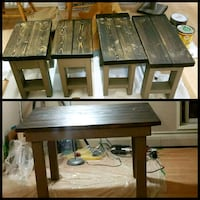 Wood kitchen table and 4 stools. Stony Plain, T7Z 1M5