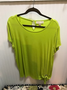 green scoop neck shirt