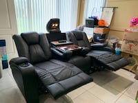 MUST GO - Black Leather Recliner Couch/Sofa and Loveseat Miramar, 33029