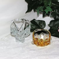 2 Small Art Glass Baskets Stretch Gold & Clear Mississauga