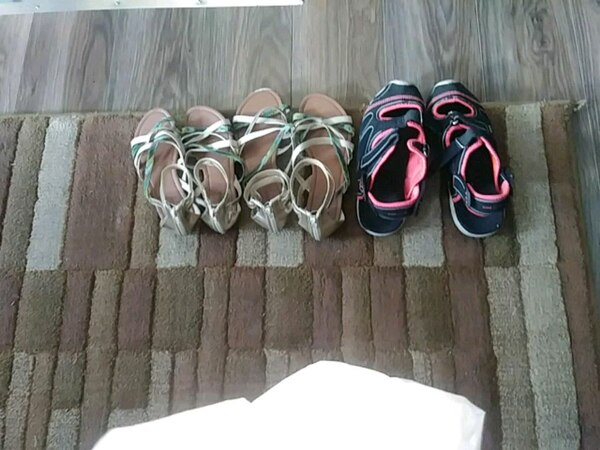 three pairs of assorted shoes
