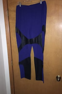 Large Black red and blue 2 pair workout leggings