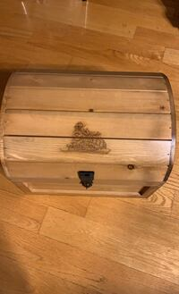 Leather handle Wooden chest with train engraved.