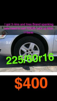 3 brand new tires and rims  3152 km