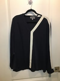 Navy blouse with white