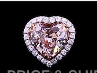 7.3 Carat Heart Shaped Ping Diamond. Color SI1 , Clarity VS1 and Cut ideal-