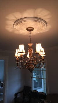 brown and white uplight chandelier Northport, 11768
