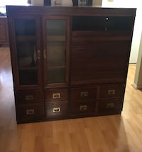 Brown wooden tv hutch with cabinet Las Vegas, 89108