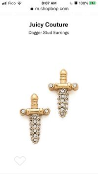Juicy Couture Dagger Studs Earrings Pave Crystals Gold Plate New Montréal, H4G 1M2