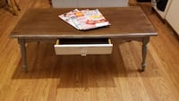 Rectangular brown and white wooden coffee table Burlington, 08016