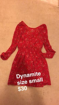 red and white floral long sleeve dress Vancouver, V5R 6C8