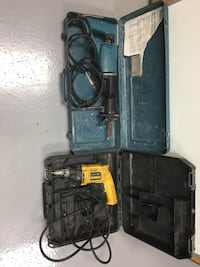 Two blue and black corded reciprocating saw and dewalt hand drill in cases Hoover, 35244