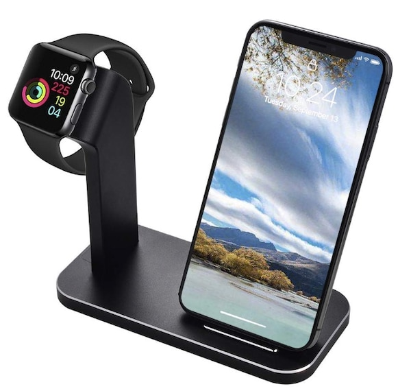 size 40 4e88b 7266f Brand New Seal In Box 2 in 1 Aluminium Watch Stand Compatible with Apple  Watch Series 3/2/1 (42mm / 38mm) and Fast Phone Wireless Charger Station ...
