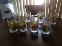 eight clear glass Shrek graphic drinking glasses