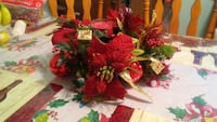 red, brown, and green floral candle holder