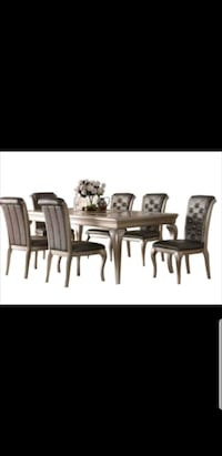rectangular brown wooden table with six chairs dining set Toronto, M1C 3J6