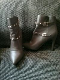 pair of gray leather booties Fresno, 93722