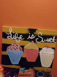 life is sweet cupcake painting board wall decor