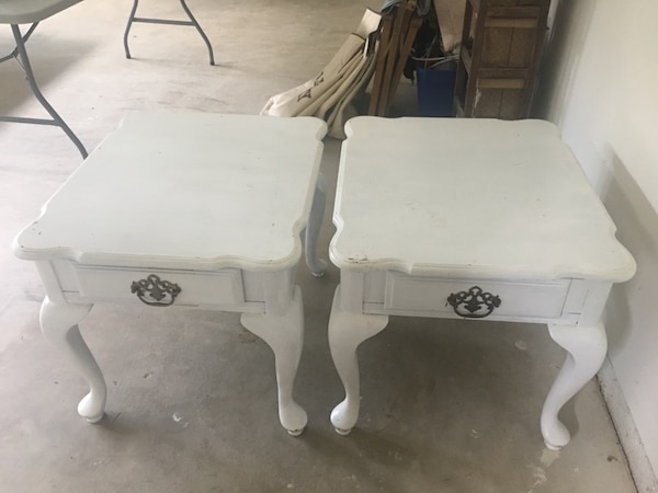 white wooden table with drawer