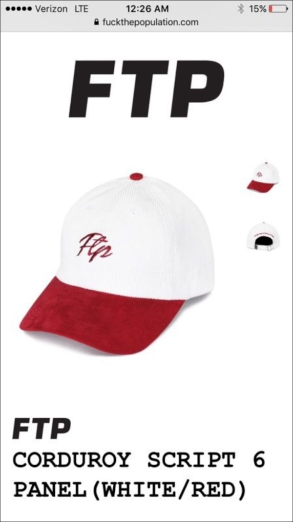 6dfdd108ab171 Used Red White Corduroy FTP hat for sale in Tempe - letgo