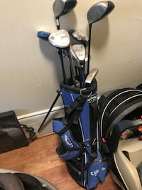 black and blue golf bag with golf clubs Clearview, L0M