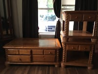 Solid wood very heavy has eight drawers in coffee table and one drawer one each end table  Nederland, 77627