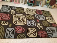 Brown, white, and red area rug 5x7 Windsor, 80550