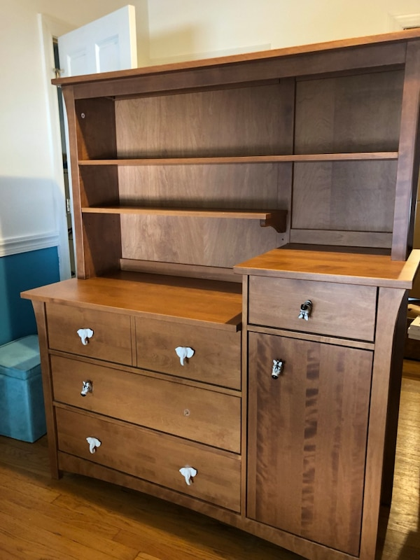 Solid Maple Baby Changing Table Dresser Hutch