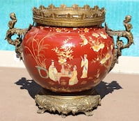 "Laquer Urn Asian motif Large Asian Lacquer Planter/Vase/ Urn Ornate handles.  Tag still attached $950. Heavy sturdy measuring approximately 19"" x 21"". Asking $350 or best offer Los Angeles, 90036"