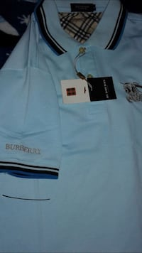 teal and brown Burberry polo shirt