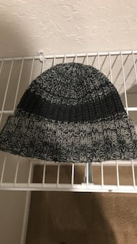 Black and gray knitted stocking cap clean