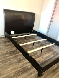 Queen Bed, Leather Headboard and Frame