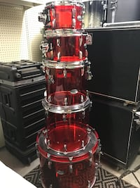 Pearl red acrylic drum set Prattville