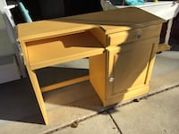 ALL WOOD COMPUTER DESK MINT YELLOW SHABBY CHIC PAINT READ NARRATIVE  Downers Grove, 60516