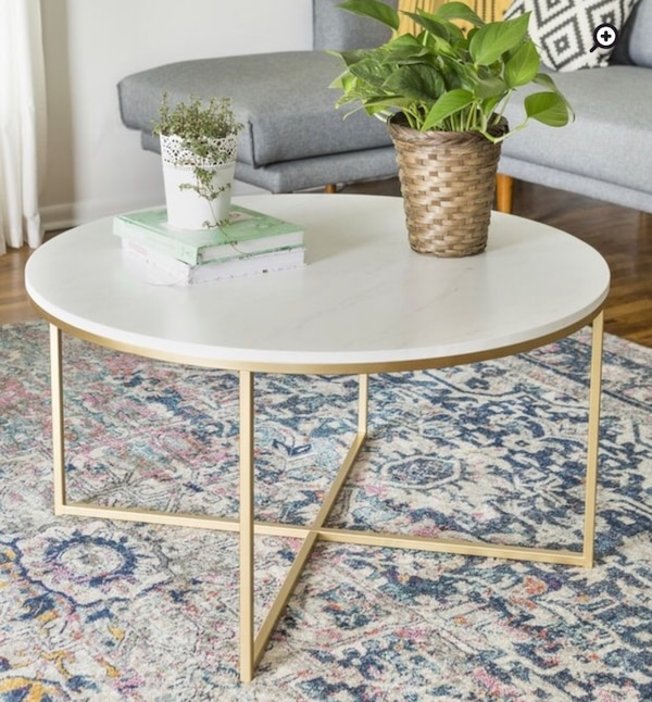 Begagnad Round White Marble Coffee Table Gold Metal Base Till Salu I