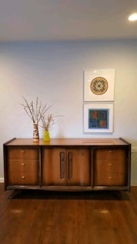MCM sideboard buffet with brass hardware