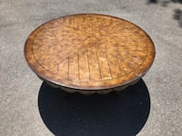 "Rustic Large Round Coffee Table Solid Wood 44""x19.5"" Silver Spring, 20904"